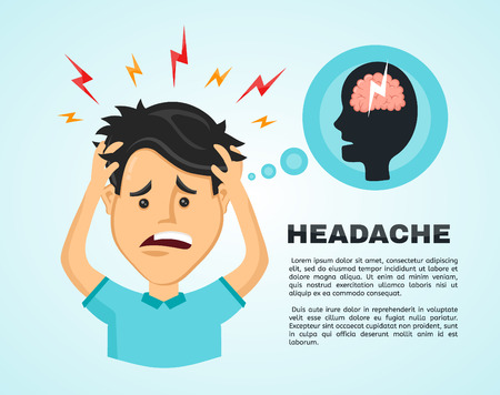 Vector flat man with a headache, compassion fatigue, a with a disease of the head, an office worker holding his head with his hands and feels anguish. migraine, health problems and pain head stress Vector Illustration