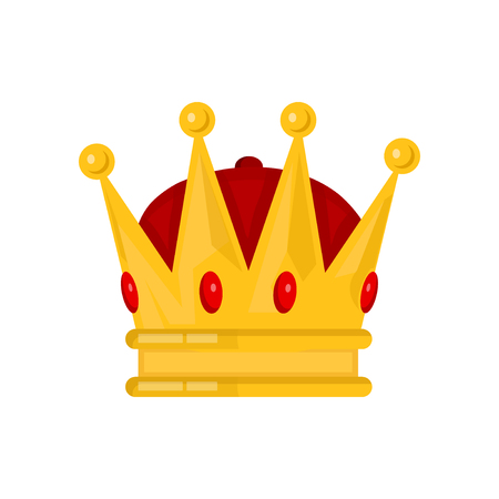 royal person: Gold king crown Vector flat cartoon illustration icon. Isolated on white backgound Illustration