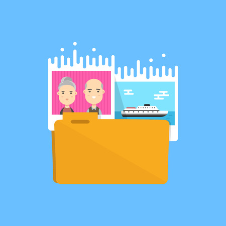 collect: Pictures Folder icon. Vector flat illustration design. Collect photo, media files