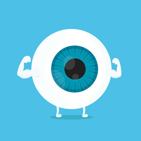 Strong healthy white eye, eyeball character. Vector flat cartoon illustration icon design. Isolated on blue backgound