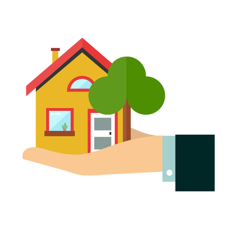 House in hand. Flat vector design icon illustration. Isolated on white background.  Insurance agent businessman  holds in hand of house, protection from danger, providing security. Real estate offer