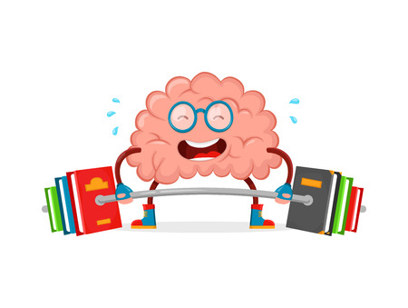 train your brain. brain vector cartoon flat illustration fun character creative design. education,science,smart, brain books fitness concept.train lifts with book barbell. isolated on white background