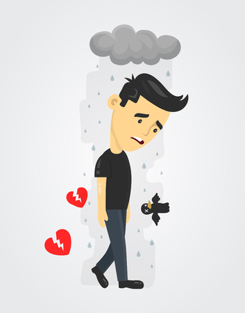 heartbroken sad young man guy. depression vector flat illustration fun concept. Broken heart love, Despair Loneliness Unhappy Heartbroken Ilustração