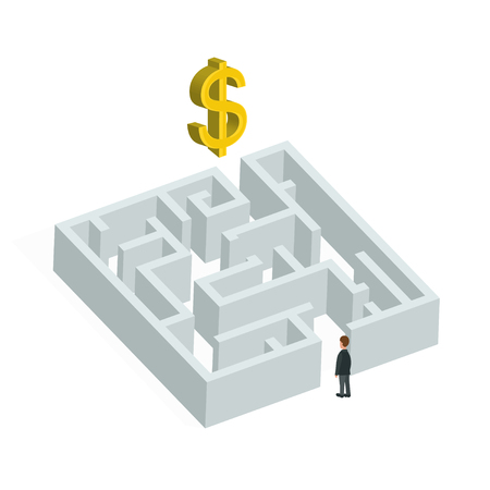 bureaucrat: Isometric creative business concept. Labyrinth solution and businessman. Vector flat illustration.  In search of profit and money. Isolated on white background Illustration