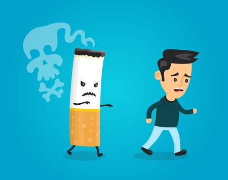 Cigarette runs over man guy. Stop smoking concept. Cigarette kills. Vector flat cartoon character illustration