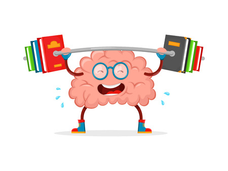train your brain. brain vector cartoon flat illustration fun character creative design. education,science,smart,brain books fitness concept.train lifts with book barbell. isolated on white background Vectores