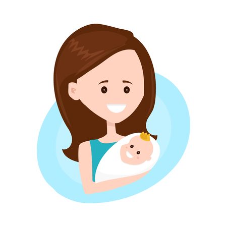 Mother modern flat style character holds little child on hands. Vector illustration design isolated on white background. Mother with child character Illustration