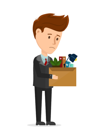Dismissal frustrated concept. Business man is fired from the office stay with box. Vector cartoon modern trendy flat character illustration icon design. You are fired, employee job reduction, crisis Illustration
