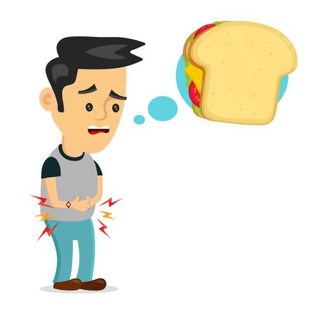 Głodny człowiek myśli o kanapce. Ilustracje wektorowe