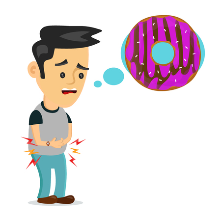 tired: Young suffering sad man is hungry. thinks about food, fast food, donut. Vector flat cartoon illustration icon design. Isolated on white background. Hungry,tasty donut concept