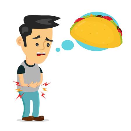 El sufrimiento joven hombre triste tiene hambre. piensa en comida, comida rápida, taco. Diseño plano del icono de la ilustración de la historieta del vector. Aislado en el fondo blanco. Concepto de taco hambriento y sabroso