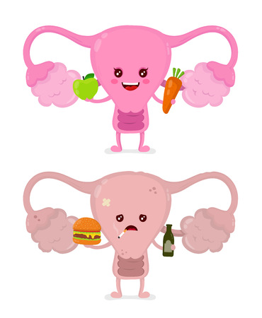 Sad unhealthy sick uterus with bottle of alcohol and smoking cigarette,burger and strong healthy happy uterus with carrot and apple. Vector modern cartoon character illustration icon design.