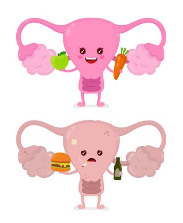 Traurige ungesunde kranke Gebärmutter mit Flasche Alkohol und rauchende Zigarette, Burger und starke gesunde glückliche Gebärmutter mit Karotte und Apfel. Zeichentrickfilm-Figur-Illustrations-Ikonendesign des Vektors modernes.