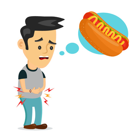Young suffering sad man is hungry. Thinks about food, fast food, hot dog. Vector flat cartoon illustration icon design. Isolated on white background. Hungry,  tasty hot dog concept