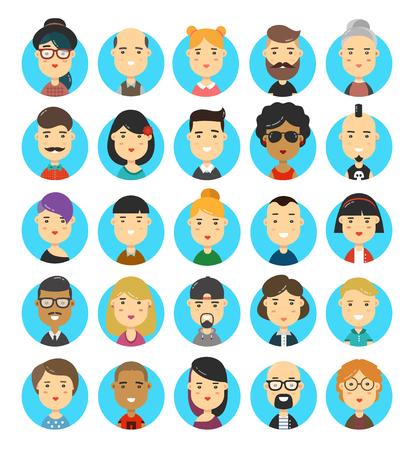 male symbol: 25 flat modern style hipster people character avatars icons set. Illustration