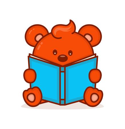 Cute little bear read book. Illustration