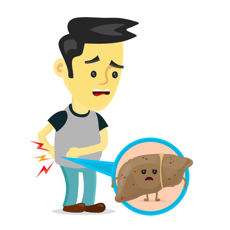 Sad sick young man with unhealthy liver with hepatitis a character. Ilustração
