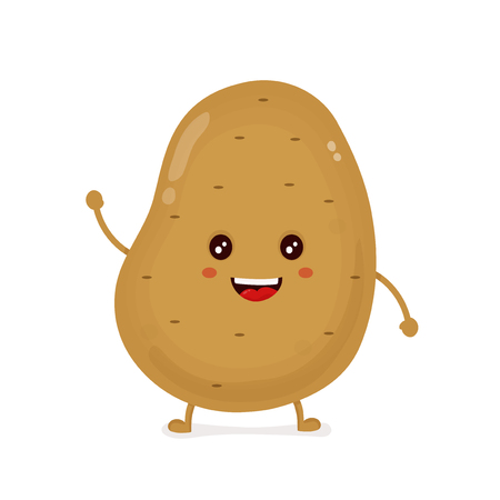 Cute happy smiling funny potato. Vector flat cartoon character illustration icon design.Isolated on white background. potato vegetable concept
