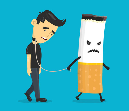 Cigarette leads to a chain of a young man. Smoking slave, nikotine, cigarette addiction.Vector flat cartoon character illustration icon design. Isolated on blue background. Ilustracja