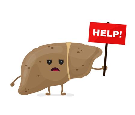 銘板の助けを借りて悲しい不健康な病気肝臓。ベクトル現代スタイル漫画文字イラスト アイコン デザイン。異常な肝臓の概念を助けます。