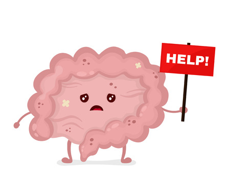 Sad unhealthy sick Intestine with nameplate help. Vector modern style cartoon character illustration icon design. help unhealthy Intestine concept.