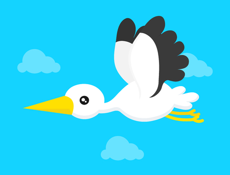 Flying stork in blue sky. Vector modern flat style cartoon character illustration.Isolated on blue background. Stork concept Illustration