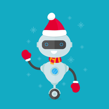 Happy smiling robot, chat bot in christmas hat and scarf. Vector modern flat style character cartoon illustration design. Isolated on white background. christmas  robot concept for card Ilustrace