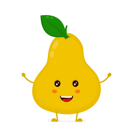 Happy cute smiling funny pear. Vector flat cartoon character illustration icon design.Isolated on white background. pear fruit concept