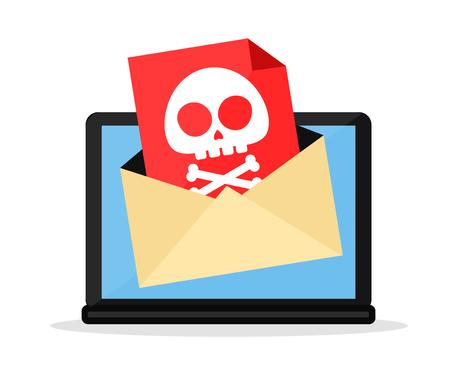 노트북 컴퓨터 바이러스와 편지입니다. 벡터 플랫 만화 문자 그림 아이콘 디자인. 흰색 배경에 고립. 위험, 메시지, 컴퓨터 바이러스 개념