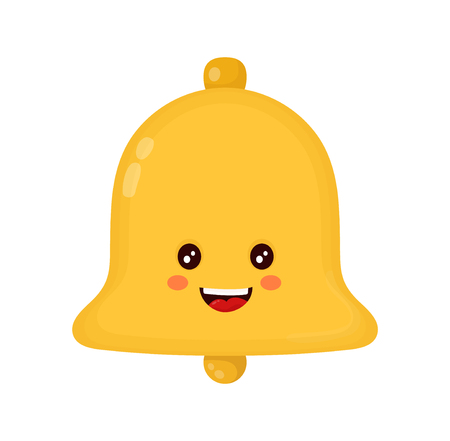 Cute smiling happy gold bell. Vector flat cartoon character illustration icon design. Isolated on white background. Bell concept
