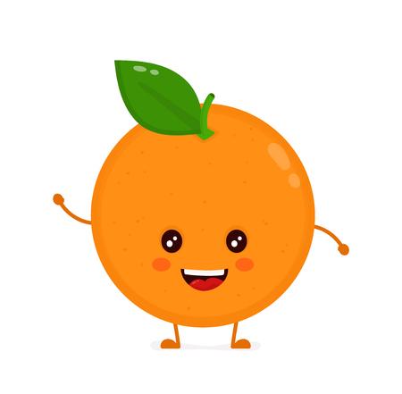 귀여운 웃는 행복 오렌지. 벡터 플랫 만화 문자 그림 아이콘 디자인. 흰색 배경에 고립. 해피 오렌지 개념