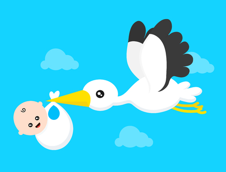 Flying stork with a bundle with little cute smiling baby. Vector modern flat style cartoon character illustration.Isolated on blue background. Stork and newborn concept Illustration