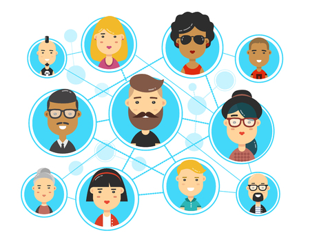 People communications in social media network web. Friends, followers. Vector flat cartoon character illustration icon design. Isolated on white background. Social digital media man and woman.