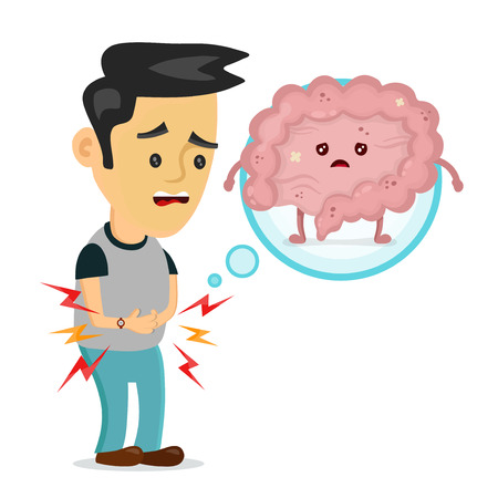Sad sick young man with food poisoning intestines character. Vector flat cartoon illustration icon design. Isolated on white backgound. Digestive tract, pain,sick,ache concept