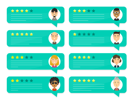 Review rating bubble speeches. Vector modern style cartoon character illustration avatar icon design. concept of decision, grading system, reviews stars rate and text, feedback evaluation, messages Stok Fotoğraf - 89471028