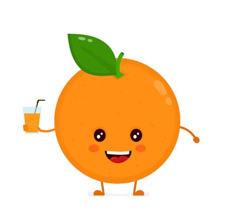 Cute happy orange with juice glass. Illustration