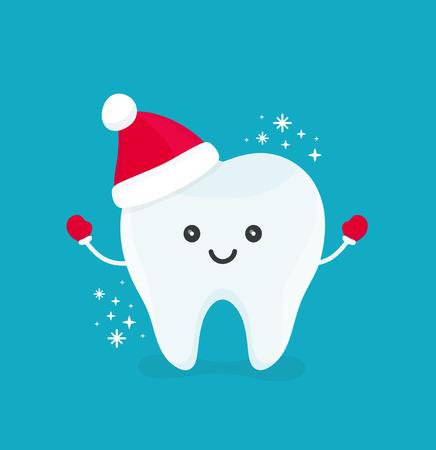 Netter glücklicher lächelnder lustiger Zahn mit Weihnachtshut Moderne flache Artzeichentrickfilm-figurillustration des Vektors Lokalisiert auf blauem Hintergrund Reines Zahnkinderkinder-Weihnachtskonzept für zahnmedizinische Zahnarztkarte