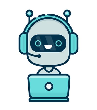 かわいいの笑みを浮かべてチャット ボットがラップトップの後ろにマイクとヘッドフォンで。ベクトル フラットな近代的なライン スタイル漫画文  イラスト・ベクター素材