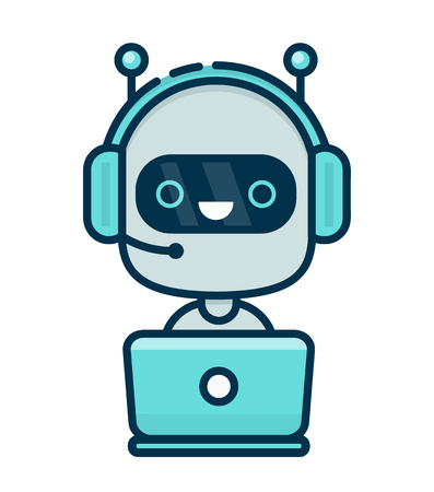 Cute smiling chat bot working in headphones with mic behind laptop. Vector flat modern line style cartoon character illustration icon design. Isolated on white background. Chat bot robot concept Иллюстрация