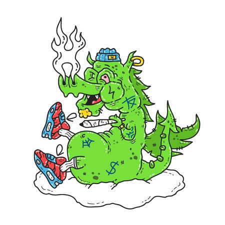 Funny stoned dope dragon smoke marijuana blunt. Vector modern style illustration. Dope print design for t-shirt Illustration