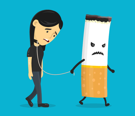 Cigarette leads to a chain of a young woman. Smoking slave, nikotine, cigarette addiction.Vector flat cartoon character illustration icon design. Isolated on blue background.