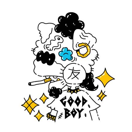 anthropomorphic: Cool punk dog. Vector modern style illustration. Dog print design for t-shirt. Good boy concept