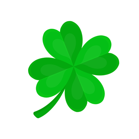 Four-leaf clover for luck.Vector flat cartoon illustration icon design. Isolated on white backgroung. Luck concept Ilustracja