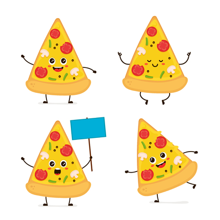 Cute smiling happy funny cute pizza slice set.Vector modern flat style cartoon character illustration.Isolated on white background.Pizza slice concept. Run,meditation,stands with a sign