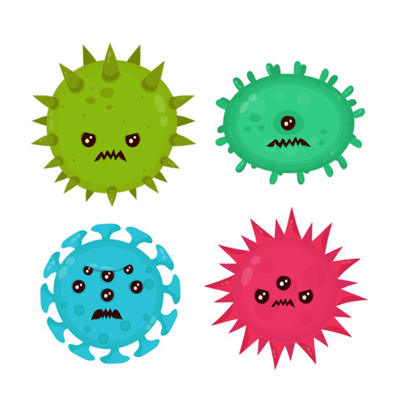 Cute angry evil bad fly germ virus infection,micro bacteria set.Vector modern flat style cartoon character illustration.Isolated on white background.Microbe, Pathogen, Virus icon.