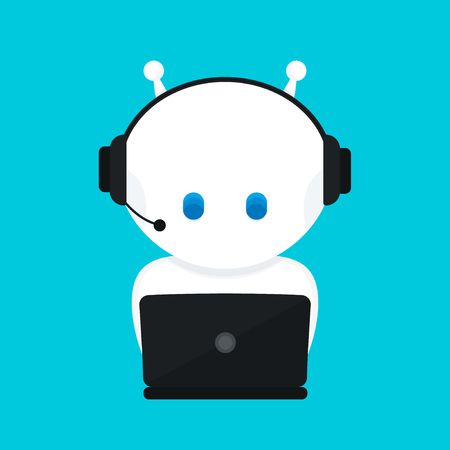 Cute funny white robot,chat bot .Vector modern flat cartoon character illustration.Isolated on blue background.Voice support service chat bot,virtual online help customer support Stock fotó - 91317238