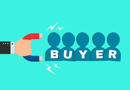 Hand eines Geschäftsmannes mit einem großen Magneten zieht neues Käuferkunden-Leutezeichen an. flache Cartoon moderne Illustration Icondesign. Erfolgreiches Geschäft, Käufermagnetkonzept