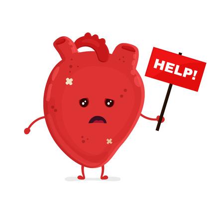 ネームプレートの助けを借りて悲しい不健康な病気の心臓。ベクトルモダンスタイルの漫画キャラクターイラストアイコンデザイン。不健康な心臓の概念を助ける。