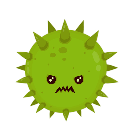 Cute angry evil bad fly germ virus infection,micro bacteria.Vector modern flat style cartoon character illustration.Isolated on white background.Microbe, Pathogen, Virus icon.Cancer concept Illustration