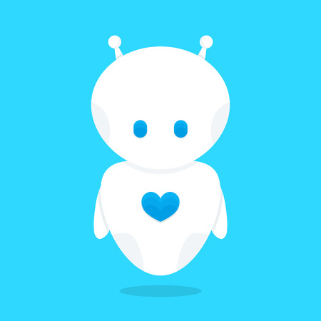 Cute funny white robot bot with blue heart character. Vector flat cartoon illustration icon design. Isolated on white background. Love robot bot concept Illustration